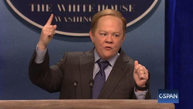 Melissa McCarthy as White House press secretary Sean Spicer on <em>Saturday Night Live</em>. (Photo: NBC)