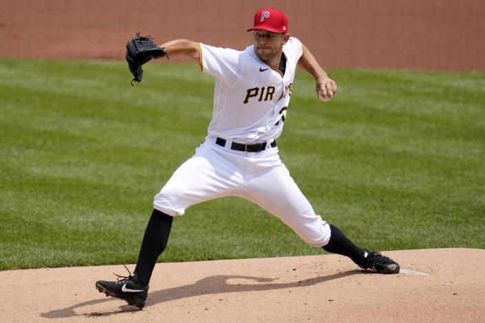 Pittsburgh Pirates starting pitcher Tyler Anderson delivers during the first inning of a baseball game against the Milwaukee Brewers in Pittsburgh, Sunday, July 4, 2021. (AP Photo/Gene J. Puskar)