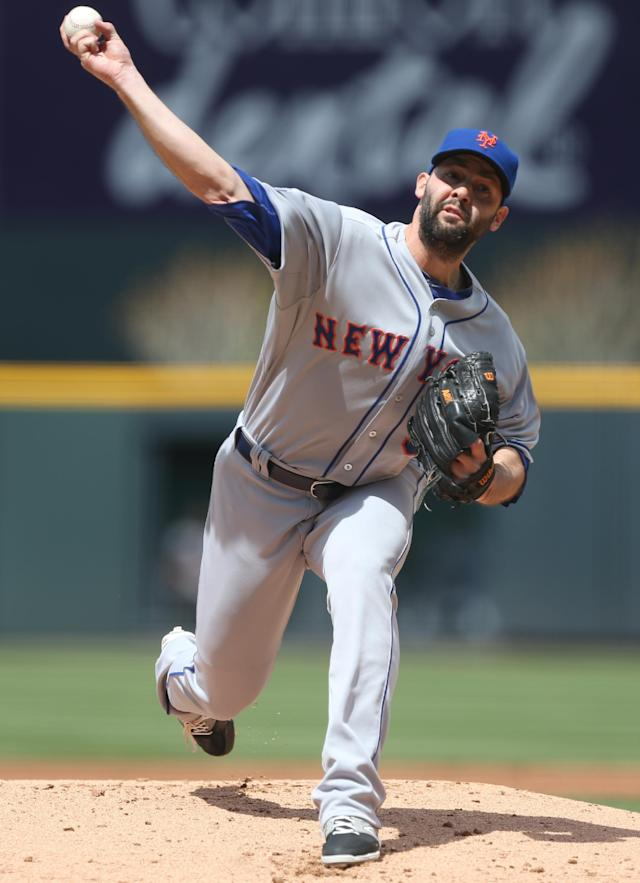 New York Mets starting pitcher Dillon Gee works against the Colorado Rockies in the first inning of a baseball game in Denver on Sunday, May 4, 2014. (AP Photo/David Zalubowski)