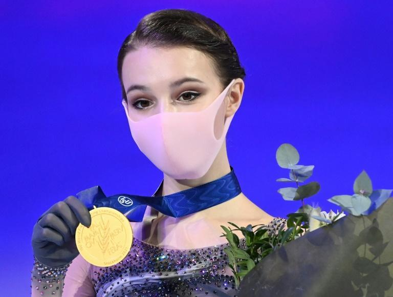 World's best: Russia's Anna Shcherbakova poses with her medal