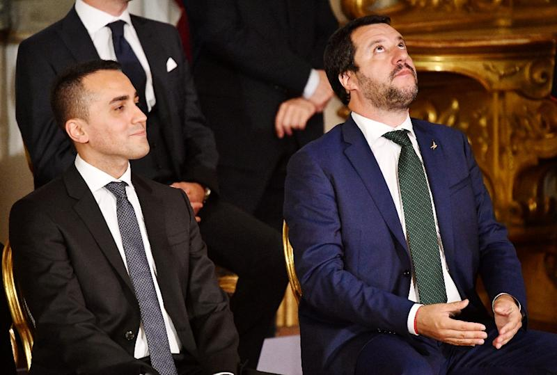 Salvini with fellow new deputy prime minister, Five Star leader Luigi Di Maio, during their swearing-in (AFP Photo/Alberto PIZZOLI)