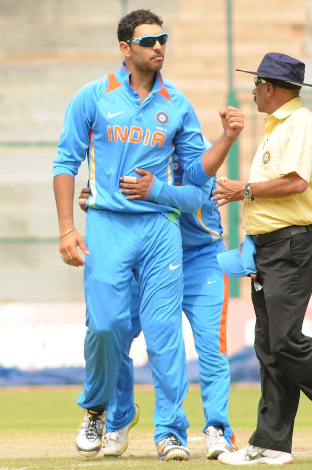 Indian A team skipper Yuvraj Singh celebrates after the wicket of West Indies A team, during  India A team v/s West Indies A team unofficial T-20 cricket match at Chinnaswamy Stadium, in Bangalore on Saturday 21st of Sept. 2013. (Photo: IANS)