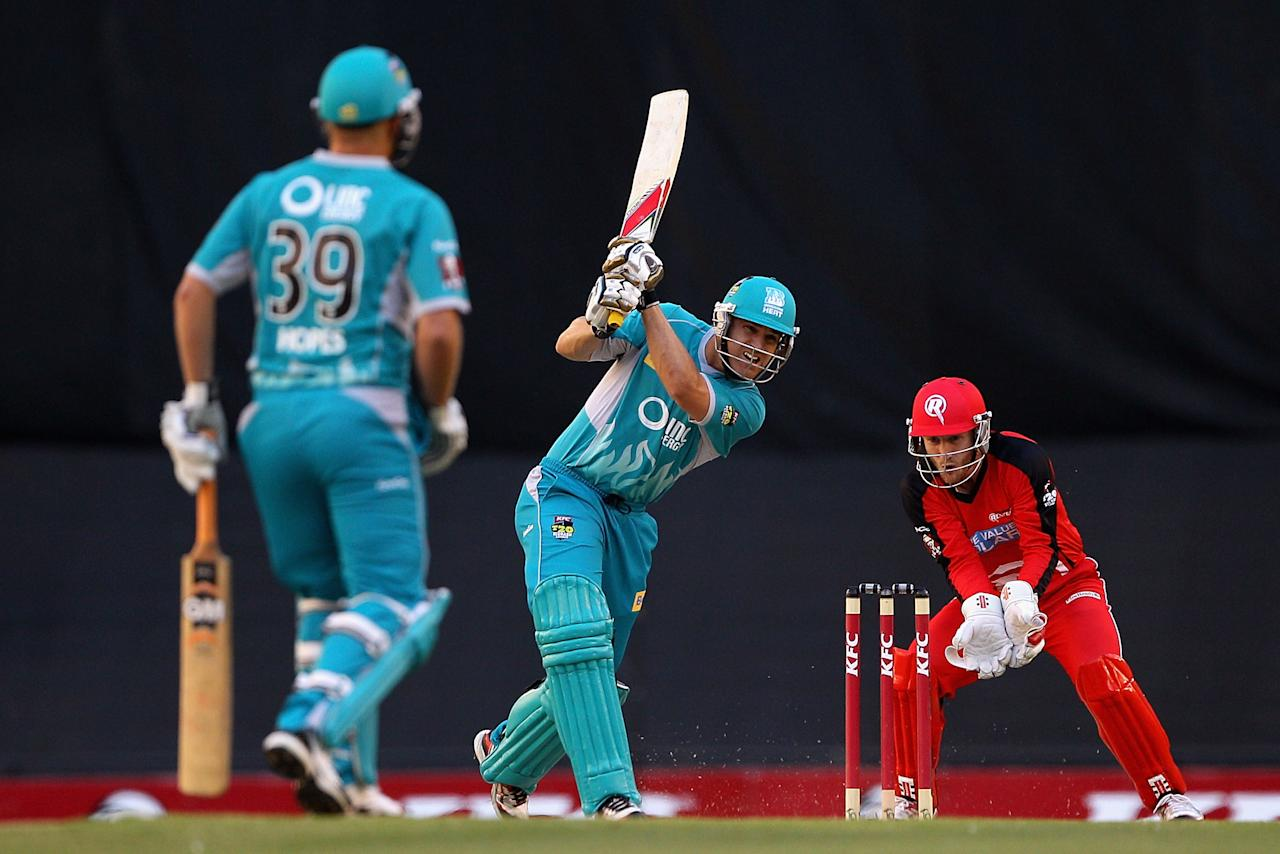 MELBOURNE, AUSTRALIA - DECEMBER 22:  Luke Pomersbach of the Heat plays a shot during the Big Bash League match between the Melbourne Renegades and the Brisbane Heat at Etihad Stadium on December 22, 2012 in Melbourne, Australia.  (Photo by Robert Prezioso/Getty Images)