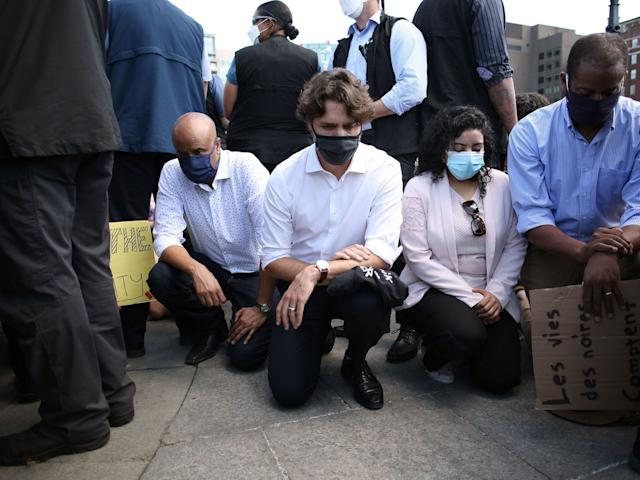 Taking the knee has become a global phenomenon to express opposition to racial injustice. Canadian Prime Minister Justin Trudeau takes a knee during in a Black Lives Matter protest on Parliament Hill June 5, 2020 in Ottawa, Canada