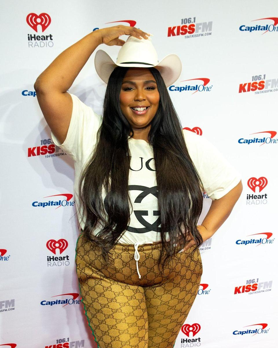 <p>Lizzo taps into her fun personal style with this full Gucci look topped off with a cowboy hat. </p>