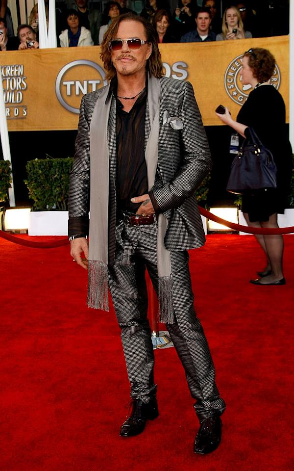 """<a href=""""/mickey-rourke/contributor/28688"""">Mickey Rourke</a> arrives at the <a href=""""/the-15th-annual-screen-actors-guild-awards/show/44244"""">15th Annual Screen Actors Guild Awards</a> held at the Shrine Auditorium on January 25, 2009 in Los Angeles, California."""