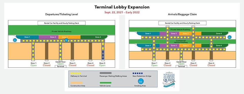 The Charlotte Douglas International Airport has announced changes to entry and exit patterns due to lobby construction.