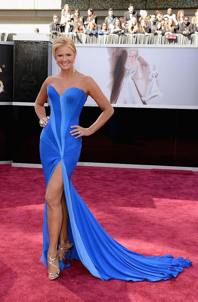 Nancy O'Dell arrives at the Oscars in Hollywood, California, on February 24, 2013.