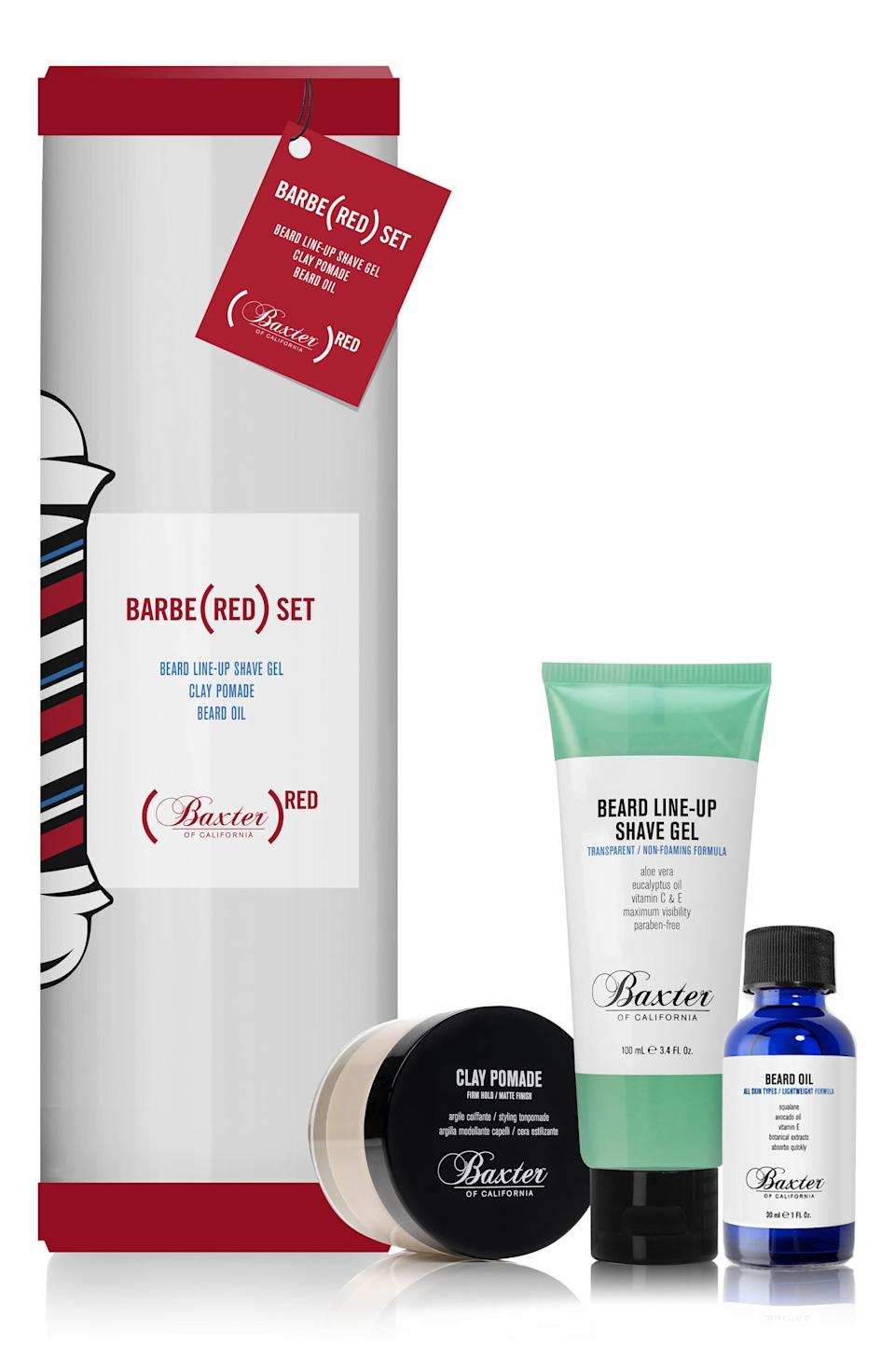 """<h3><strong>Baxter Of California</strong> Barbe(RED) Kit</h3><br><br>Restock your dad's grooming kit with this shave gel, styling clay, and beard oil combo that doesn't just look good, but <em>does</em> some good, too. With every purchase, 20% of the retail price goes directly to the fight against HIV/AIDS in <a href=""""https://www.baxterofcalifornia.com/red"""" rel=""""nofollow noopener"""" target=""""_blank"""" data-ylk=""""slk:partnership with (RED)"""" class=""""link rapid-noclick-resp"""">partnership with (RED)</a>.<br><br><strong>Baxter of California</strong> Barbe(RED) Kit, $, available at <a href=""""https://go.skimresources.com/?id=30283X879131&url=https%3A%2F%2Fshop.nordstrom.com%2Fs%2Fbaxter-of-california-barbered-kit-68-value%2F5102397%3Forigin%3Dcategory-personalizedsort%26breadcrumb%3DHome%252FMen%252FGrooming%2520%2526%2520Cologne%252FGifts%2520%2526%2520Sets%26color%3Dnone"""" rel=""""nofollow noopener"""" target=""""_blank"""" data-ylk=""""slk:Nordstrom"""" class=""""link rapid-noclick-resp"""">Nordstrom</a>"""