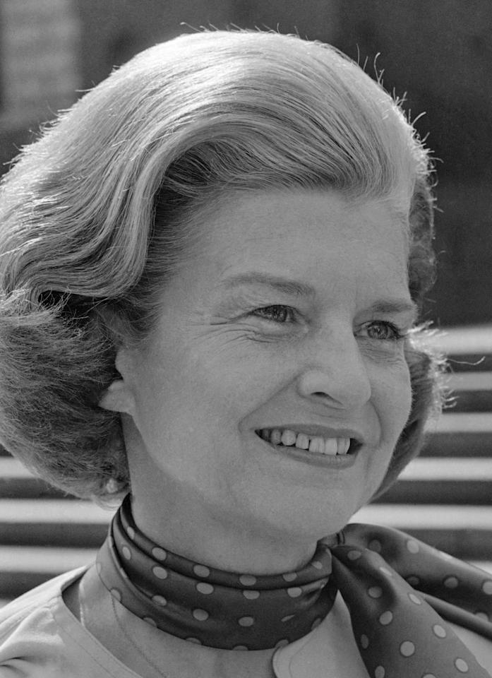 "FILE - This Aug. 11, 1975 photo released by CBS-TV shows first lady Betty Ford as she appeared on ""60 Minutes."" Ford, the former first lady whose triumph over drug and alcohol addiction became a beacon of hope for addicts and the inspiration for her Betty Ford Center, has died, a family friend said Friday, July 8, 2011. She was 93. (AP Photo/CBS-TV)"