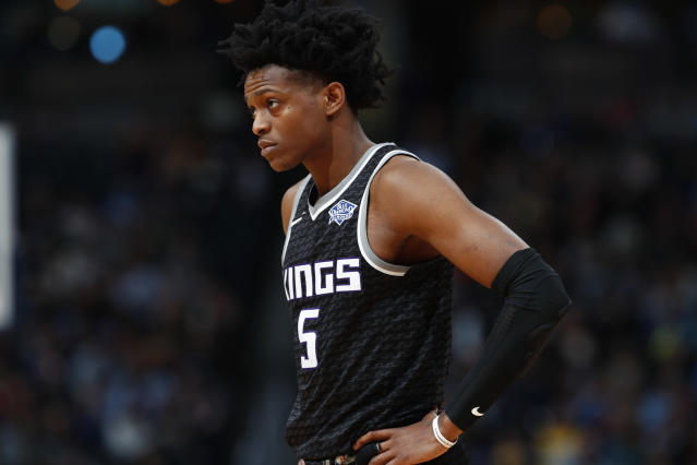 "Bank on <a class=""link rapid-noclick-resp"" href=""/ncaab/players/137379/"" data-ylk=""slk:De'Aaron Fox"">De'Aaron Fox</a>  <span>averaging 30-plus minutes per game next season for the <a class=""link rapid-noclick-resp"" href=""/nba/teams/sac/"" data-ylk=""slk:Sacramento Kings"">Sacramento Kings</a></span>. (AP Photo/David Zalubowski)"