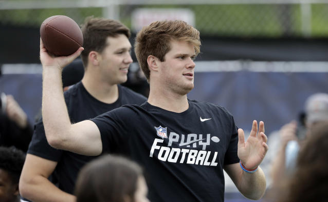 J-E-T-S: WIth the No. 3 pick, the Jets chose quarterback Sam Darnold. (AP)