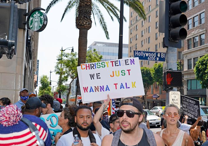 """Protesters at a Save Our Children rally in Los Angeles, Aug. 22, 2020. <span class=""""copyright"""">Jamie Lee Curtis Taete</span>"""