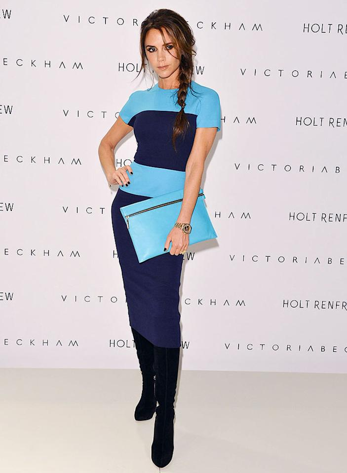 VANCOUVER, BC - JUNE 15: Style Icon and Fashion Designer Victoria Beckham visits Holt Renfrew Vancouver to present fall winter 2012 Victoria Beckham collection (Photo by George Pimentel/WireImage)