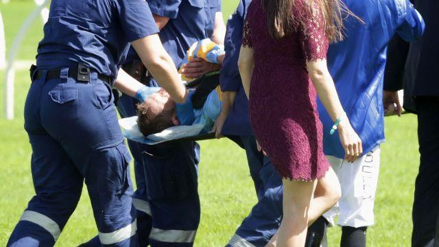 Bowman was immediately transferred to hospital. Image: Getty