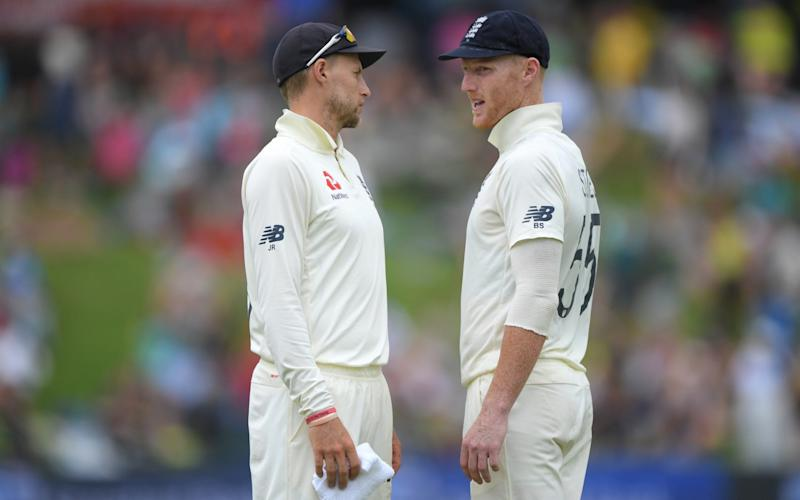 England captain Joe Root chats with vice captain Ben Stokes during Day Three of the First Test match between England and South Africa at SuperSport Park on December 28, 2019 in Pretoria, South Africa - GETTY IMAGES