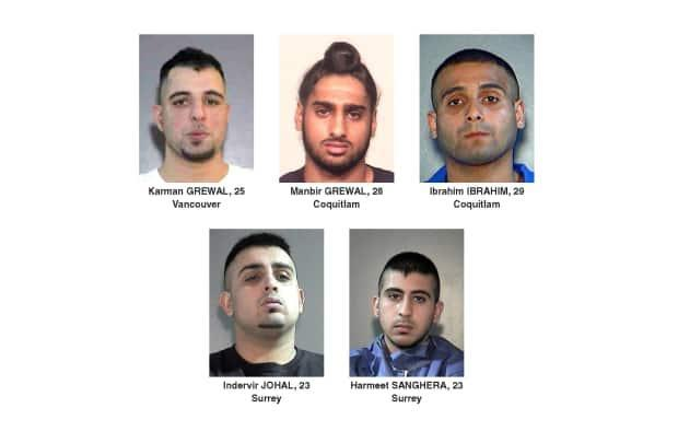 Surrey RCMP have released photos of five men in 2017 after they were targeted in a series of shootings. Karman Grewal, top left, was killed at Vancouver International Airport on Sunday. Manbir Grewal, top centre, and Ibrahim Ibrahim, top right, are also dead.