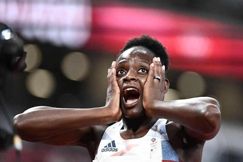 Daryll Neita reacts after finishing in fourth position to advance to the 100m final (AFP)