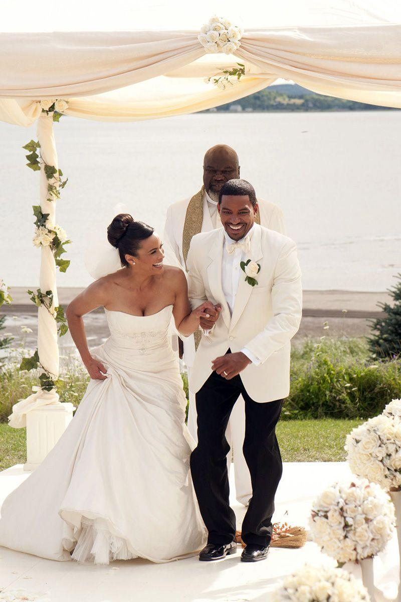 "<p>In <em>Jumping the Broom</em><em>,</em> Sabrina and Jason say ""I do"" with a waterfront outdoor ceremony. During which the bride, played by Paula Patton, looked gorgeous in a strapless A-line dress.</p>"