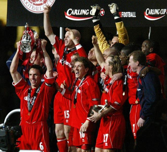 Southgate lifted the Carling Cup with Middlesbrough