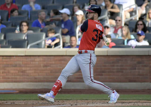 Washington Nationals' Bryce Harper grounds into a double play during the fifth inning of a baseball game against the New York Mets, Saturday, Aug. 25, 2018, in New York. (AP Photo/Bill Kostroun)