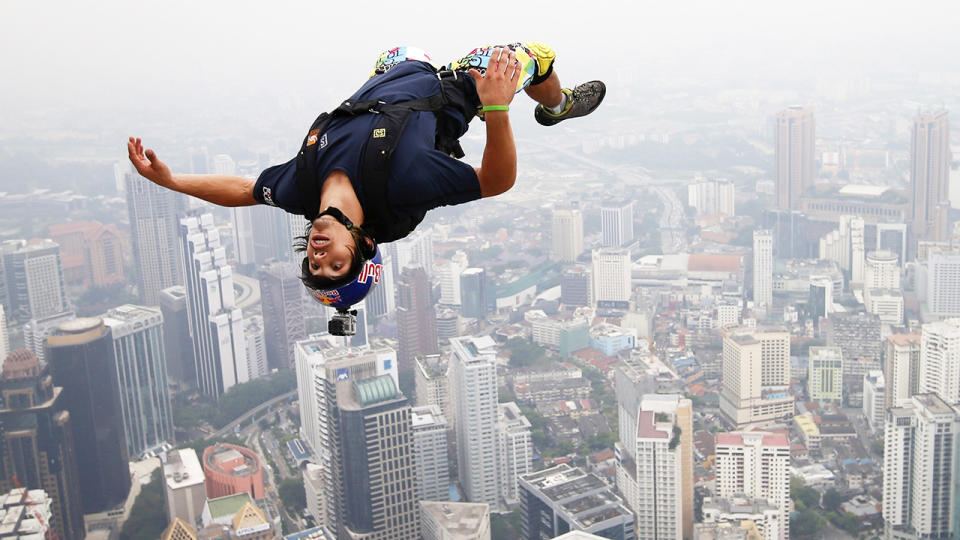 Vince Reffet, pictured here leaping from the Open Deck of the Kuala Lumpur Tower.