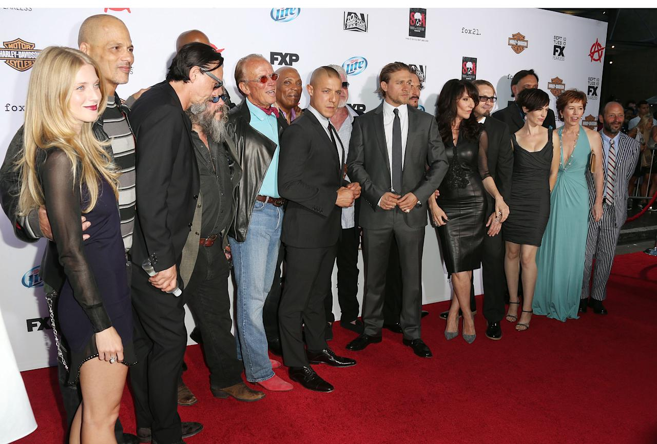 """HOLLYWOOD, CA - SEPTEMBER 07: The cast attend the Premiere of FX's """"Sons of Anarchy"""" Season 6 at the Dolby Theatre on September 7, 2013 in Hollywood, California. (Photo by Frederick M. Brown/Getty Images)"""