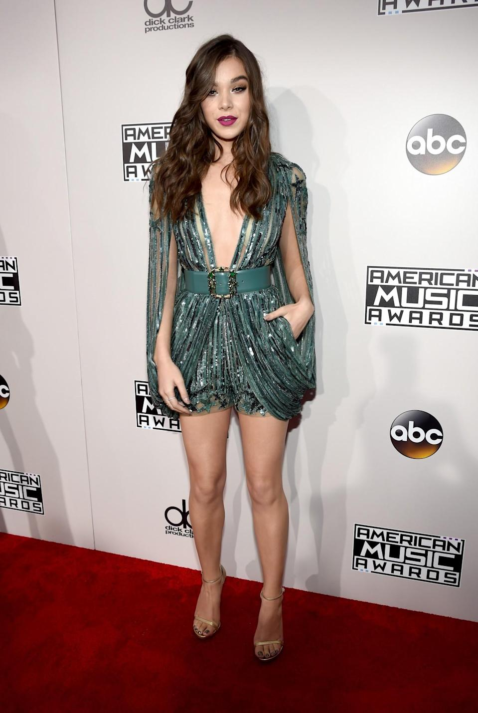 <p>Hailee Steinfeld's black tie romper was covered in sequins. <em>(Photo: Getty Images)</em> </p>