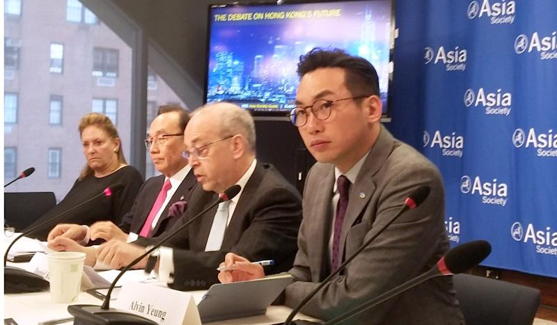 Use Hong Kong's example to argue against 'China model' of development, opposition politicians tell US audience