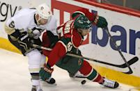 Pittsburgh Penguins' Pascal Dupuis, left, and Minnesota Wild's Matt Dumba, right, race for the puck during the third period of an NHL hockey game, Tuesday, Nov. 4, 2014, in St. Paul, Minn. Pittsburgh won 4-1. (AP Photo/Bruce Bisping)