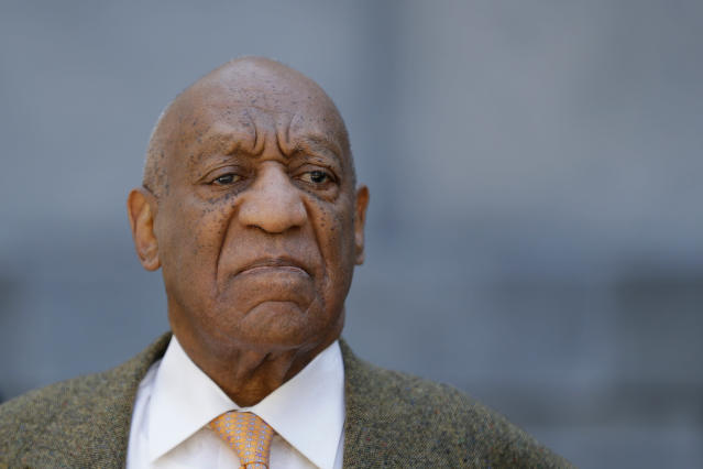 """FILE - In this April 23, 2018 file photo, Bill Cosby departs after his sexual assault trial at the Montgomery County Courthouse in Norristown, Pa. The board of visitors of The College of William & Mary has voted to rescind an honorary degree awarded to comedian and actor Cosby. The board issued a statement Friday, Aug. 10, 2018, saying since it awarded the Masters of Arts degree in 1993, """"information came to light and was confirmed that Mr. Cosby engaged in abhorrent conduct antithetical to our university's core values."""" (AP Photo/Matt Slocum, File)"""