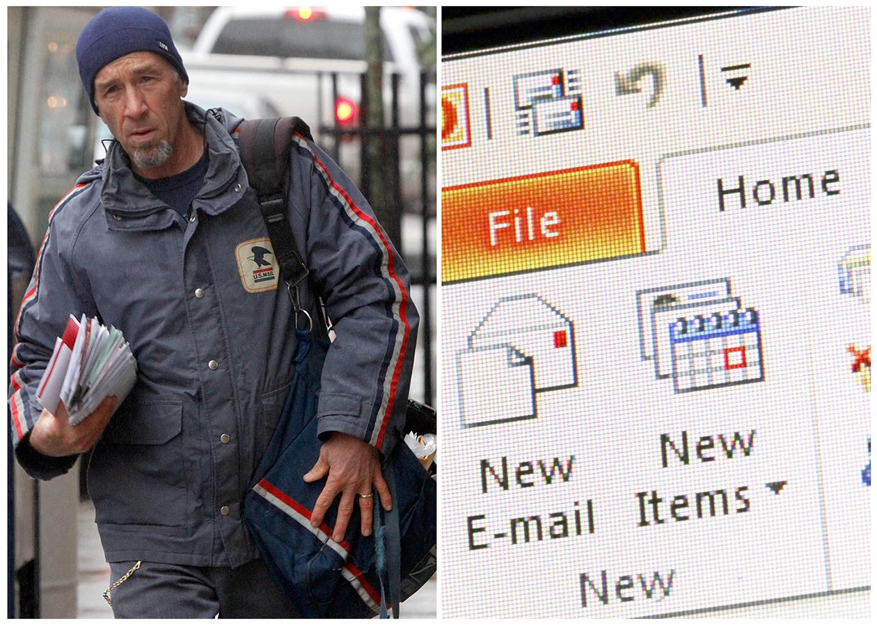 "This combination of Associated Press file photos shows, left, mail carrier Mike Gillis delivering mail in 2011, in Montpelier, Vt., and right, Microsoft Outlook being demonstrated on a desktop computer in 2013, in New York. The number of ""mail carriers"" in the U.S.  fell 10 percent from 358,000 to 321,000 in ten years through 2010."