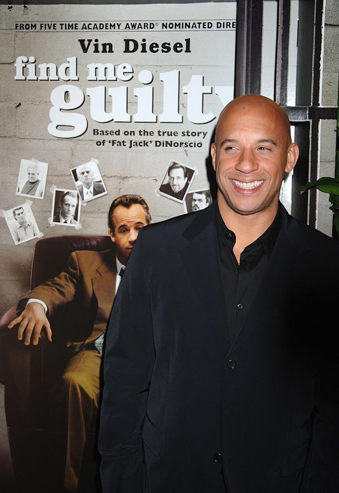 """<a href=""""http://movies.yahoo.com/movie/contributor/1800020716"""">Vin Diesel</a> at the New York premiere of <a href=""""http://movies.yahoo.com/movie/1808748798/info"""">Find Me Guilty</a> - 03/14/2006"""