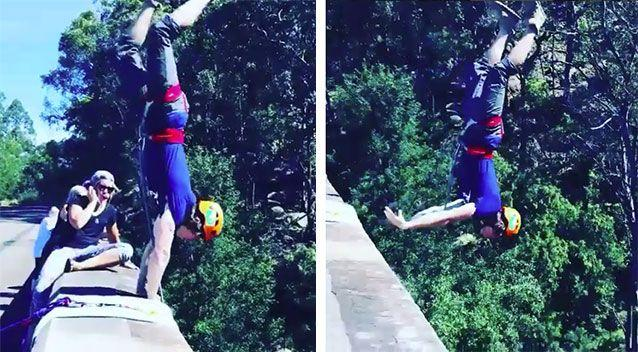 A group of thrill seekers have come under fire for dangerously jumping off historical structures like the sandstone Knapsack Viaduct at the Blue Mountains. Pictures: Instagram/getthedice