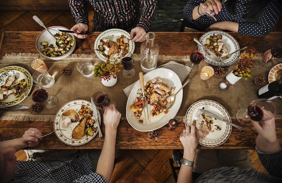 """<p>Serving a sumptuous Thanksgiving feast can be an exciting prospect, especially with a menu like this one that includes country-inspired dishes<strong>.</strong></p><p><strong>Starters:</strong></p><p><a href=""""https://www.countryliving.com/food-drinks/recipes/a1872/cheese-grits-corn-pudding-3997/"""" rel=""""nofollow noopener"""" target=""""_blank"""" data-ylk=""""slk:Cheese Grits and Corn Pudding"""" class=""""link rapid-noclick-resp"""">Cheese Grits and Corn Pudding</a></p><p><a href=""""https://www.countryliving.com/food-drinks/recipes/a1215/shrimp-bisque-bourbon-3321/"""" rel=""""nofollow noopener"""" target=""""_blank"""" data-ylk=""""slk:Shrimp Bisque with Bourbon"""" class=""""link rapid-noclick-resp"""">Shrimp Bisque with Bourbon</a></p><p><strong>Main Course:</strong></p><p><a href=""""https://www.countryliving.com/food-drinks/recipes/a1479/roast-turkey-white-wine-rosemary-3598/"""" rel=""""nofollow noopener"""" target=""""_blank"""" data-ylk=""""slk:Roast Turkey with White Wine and Rosemary"""" class=""""link rapid-noclick-resp"""">Roast Turkey with White Wine and Rosemary</a></p><p><strong>Side Dishes:</strong></p><p><a href=""""https://www.countryliving.com/food-drinks/recipes/a872/rice-cornbread-pecan-stuffing-72/"""" rel=""""nofollow noopener"""" target=""""_blank"""" data-ylk=""""slk:Wild-Rice, Corn Bread, and Pecan Stuffing"""" class=""""link rapid-noclick-resp"""">Wild-Rice, Corn Bread, and Pecan Stuffing</a><br></p><p><a href=""""https://www.countryliving.com/food-drinks/recipes/a1336/southern-vegetable-saute/"""" rel=""""nofollow noopener"""" target=""""_blank"""" data-ylk=""""slk:Southern Vegetable Saute"""" class=""""link rapid-noclick-resp"""">Southern Vegetable Saute</a></p><p><a href=""""https://www.countryliving.com/food-drinks/recipes/a1782/candied-yams-apples-3902/"""" rel=""""nofollow noopener"""" target=""""_blank"""" data-ylk=""""slk:Candied Yams with Apples"""" class=""""link rapid-noclick-resp"""">Candied Yams with Apples</a></p><p><strong>Dessert:</strong></p><p><a href=""""https://www.countryliving.com/food-drinks/recipes/a1115/pumpkin-cream-tarts-candied-cranberries-3222/"""" rel=""""nofollow noopener"""" target=""""_"""