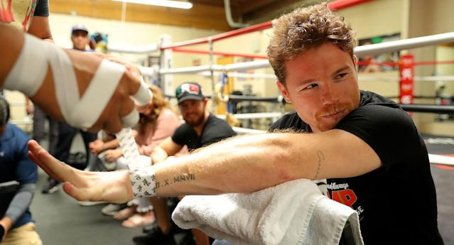 "The ""stacking"" method of hand-wrapping used by Canelo Alvarez, which is only allowed in Nevada and Texas, has drawn the ire of Gennady Golovkin's trainer Abel Sanchez. (Photo courtesy Golden Boy Promotions)"