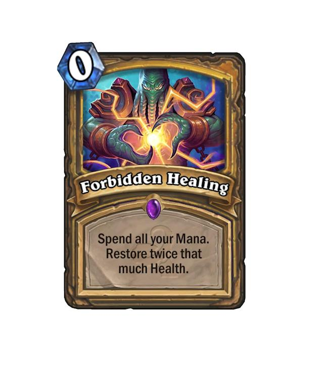 """<p>Priest has a new """"Oh sh*t"""" button. At max mana, that's 20 health restored, folks. <a href=""""http://hearthstone.gamepedia.com/Reno_Jackson"""" rel=""""nofollow noopener"""" target=""""_blank"""" data-ylk=""""slk:Reno Jackson"""" class=""""link rapid-noclick-resp"""">Reno Jackson</a> is drooling just looking at this bad boy.</p>"""