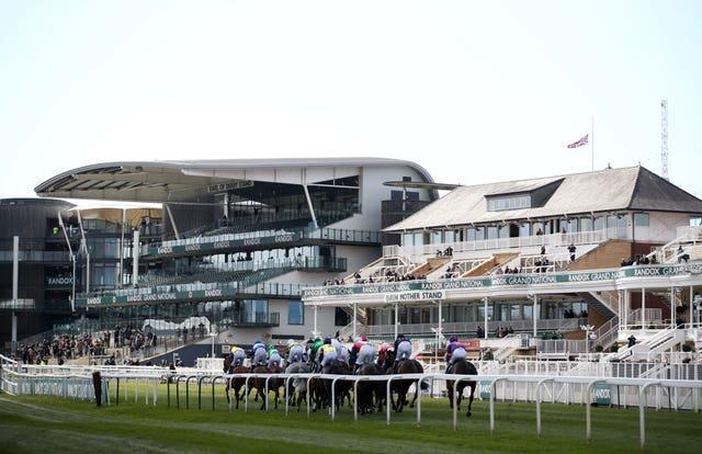 The Union Jack was flown at half mast during Grand National Day of the 2021 Randox Health Grand National Festival at Aintree
