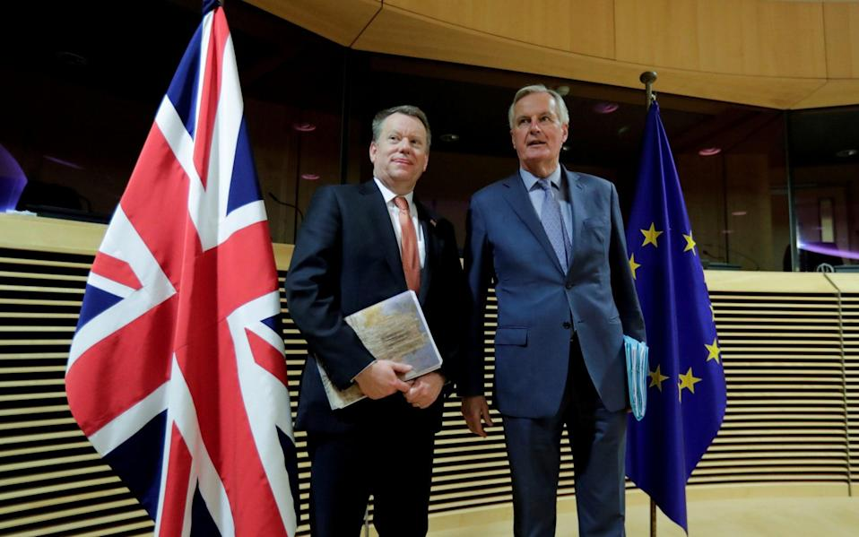 EU and UK negotiators, Michel Barnier and David Frost at start of the first round of post -Brexit trade deal talks - BRITAIN-EU/PARLIAMENT