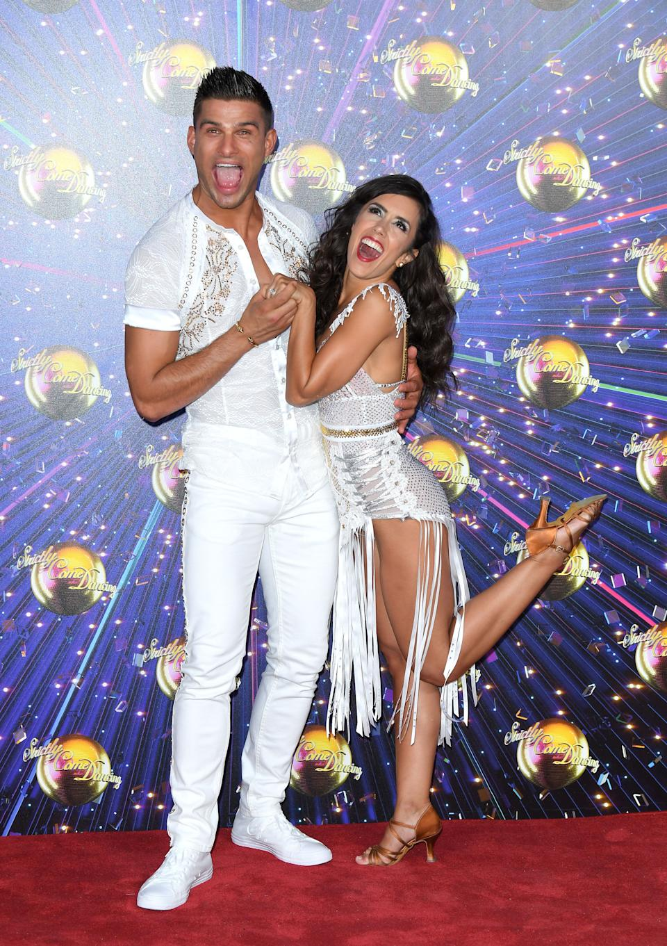 """LONDON, ENGLAND - AUGUST 26: Aljaz Skorjanec and Janette Manrara  attend the """"Strictly Come Dancing"""" launch show red carpet arrivals at Television Centre on August 26, 2019 in London, England. (Photo by Karwai Tang/WireImage)"""