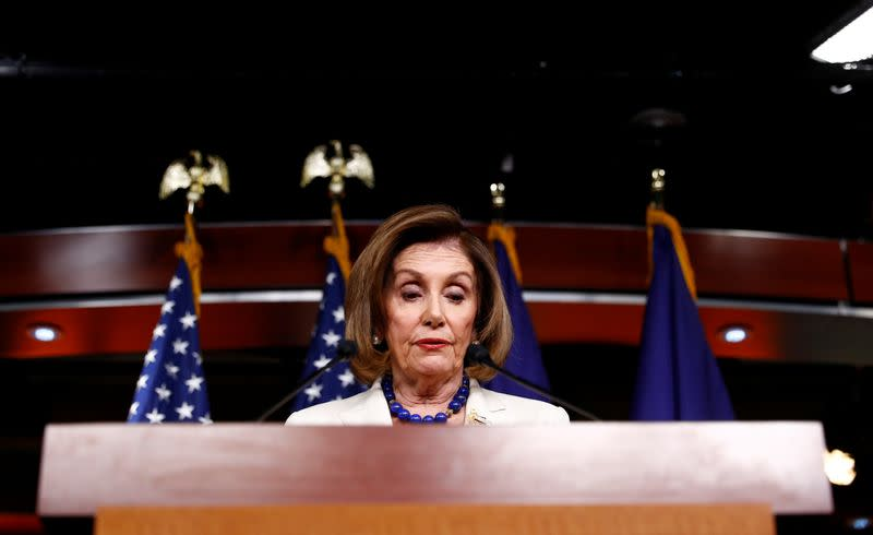 House Speaker Pelosi answers questions about Trump impeachment inquiry on Capitol Hill in Washington