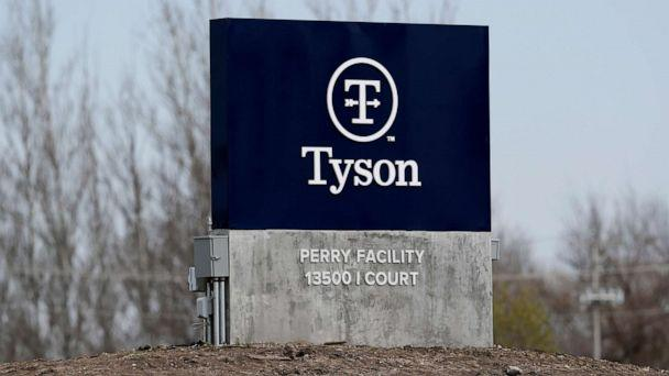 PHOTO: The Tyson Foods pork plant is seen, April 22, 2020, in Perry, Iowa. (Charlie Neibergall/AP)