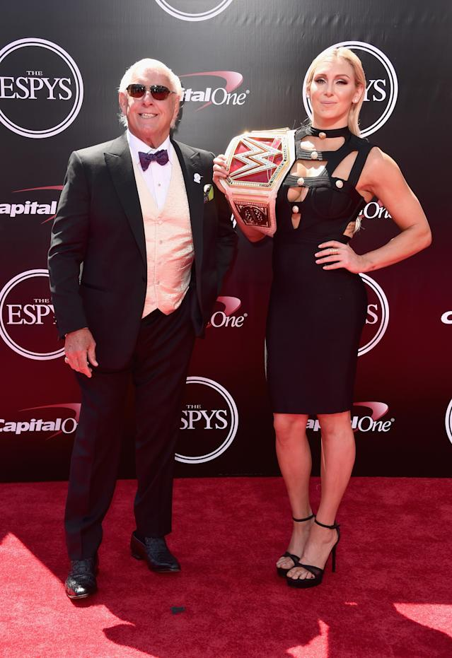 <p>Ric Flair (L) attends the 2016 ESPYS at Microsoft Theater on July 13, 2016 in Los Angeles, California. (Photo by Alberto E. Rodriguez/Getty Images) </p>