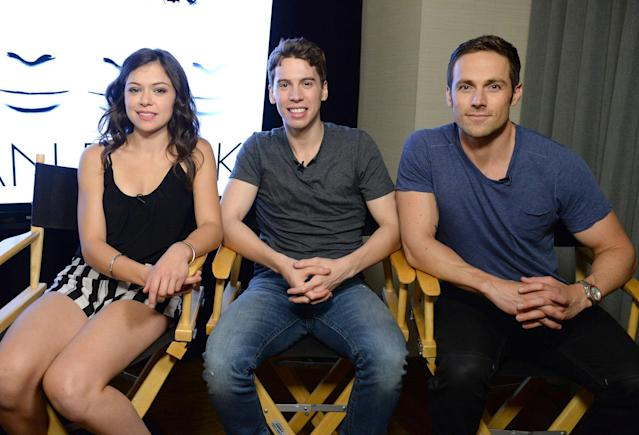 """Orphan Black"" stars Tatiana Maslany, Jordan Gavaris and Dylan Bruce attend day 2 of the WIRED Cafe at Comic-Con on July 19, 2013 in San Diego, California."