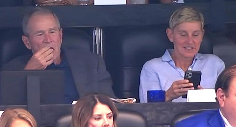 Ellen DeGeneres and George W Bush chatting and laughing at the Dallas Cowboys NFL game on Sunday.