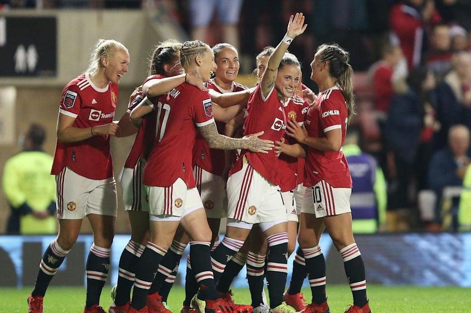 Ona Batlle celebrates scoring for Manchester United against Reading in the WSL opener  (The FA via Getty Images)