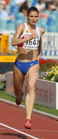 Olga Zaytseva of Russia wins women's 400m heat at European athletics championships in Gothenburg