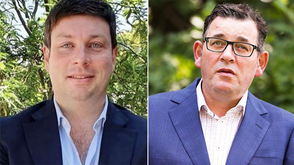 Opposition MP Tim Smith (pictured left) and Victorian Premier Daniel Andrews (pictured right) during a press conference.