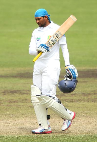 Tillakaratne Dilshan of Sri Lanka celebrates after scoring a century during day two of the international tour match between the Chairman's XI and Sri Lanka at Manuka Oval on December 7, 2012 in Canberra, Australia.  (Photo by Brendon Thorne/Getty Images)