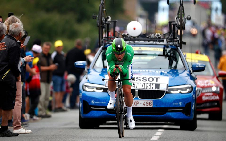 Mark Cavendish wearing the green jersey - GETTY IMAGES
